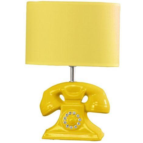 Lampe à poser pied téléphone retro céramique jaune Éclairage d'interieur
