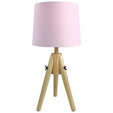 Lampe à poser scandinave en bois rose - Rose
