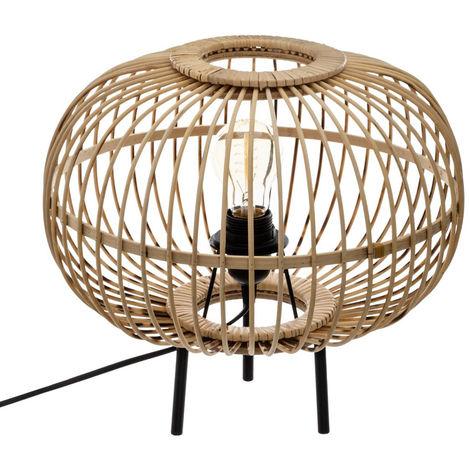 Lampe à poser trépied en bambou coloris beige - D.34 x H.31 cm -PEGANE-