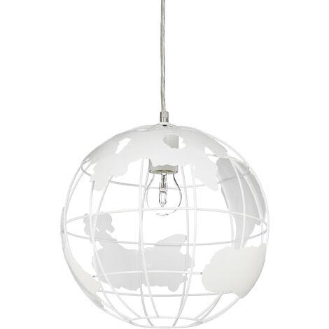 Lampe à suspension abat-jour boule globe monde métal luminaire plafond Ø 30 cm, blanc