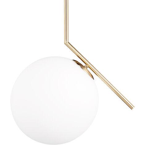 Lampe à suspension abat-jour rond globe en laiton métal luminaire GLOBI design retro HxlxP: 75 x 45 x 30 cm, matt