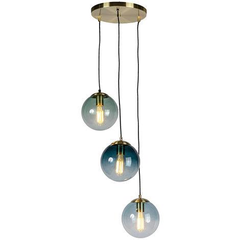 Lampe à suspension Art Déco en laiton avec verre bleu - Pallon Qazqa Art Deco Luminaire interieur Globe