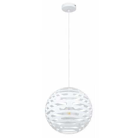 Lampe à suspension coin repas Lampe à suspension salon avec abat-jour échantillon, laiton blanc, 1x E27 max.60W, DxH 30 x 120 cm