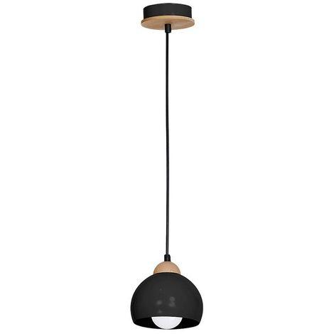 Lampe a Suspension Dama - Plafonnier - Murale - Noir en Metal, Bois, 15 x 15 x 90 cm, 1 x E27, 60 W