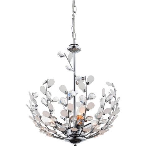 Lampe à suspension en cristal, design fleur, 125 cm, GONZALO