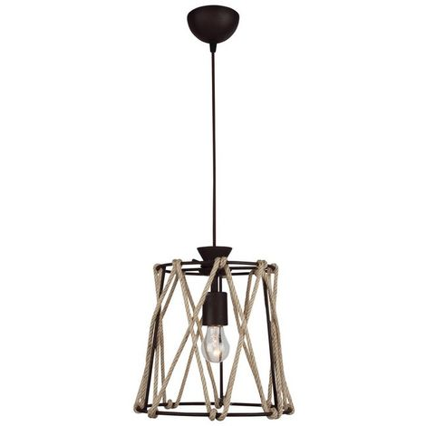 Lampe a Suspension Fune - Plafonnier - Murale - Marron en Metal, Corde, 25 x 25 x 85 cm, 1 x E27, 40 W