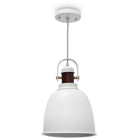 Lampe à suspension GLOCCA 1 ampoule H x l x P 134 x 24 x 24 cm hauteur réglable métal et bois plafonnier luminaire lampe à suspendre décoration lampe intérieure métal et bois, blanc