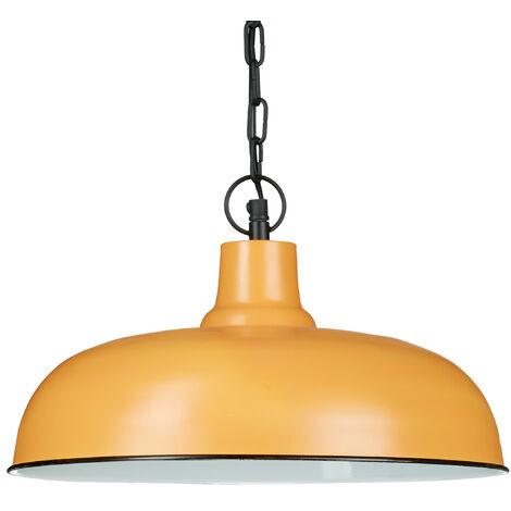 Lampe à suspension HxlxP 128 x 36 x 36 cm luminaire style industriel usine lampe de plafond chaîne métal design, couleur argile marron