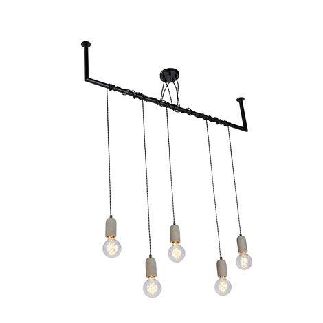Lampe à suspension industrielle noire à 5 lumières en béton - Cavoba Qazqa Industriel Minimaliste Vintage Luminaire interieur