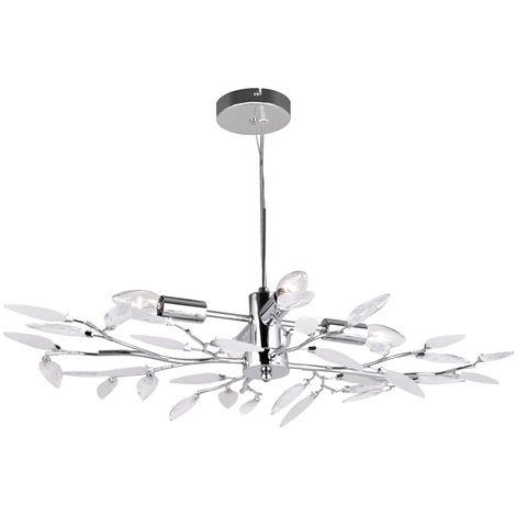 Lampe à suspension LED avec cristaux, fleurs, chrome, H 140 cm