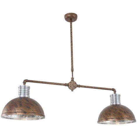 Lampe à suspension LED, brun rouille, réglable en hauteur, L 118 cm