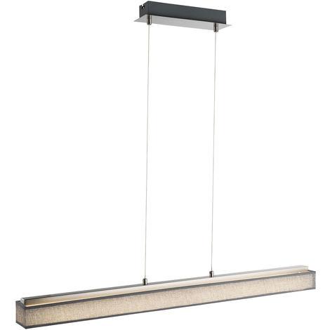 Lampe à suspension LED design avec abat-jour textile en gris PACO
