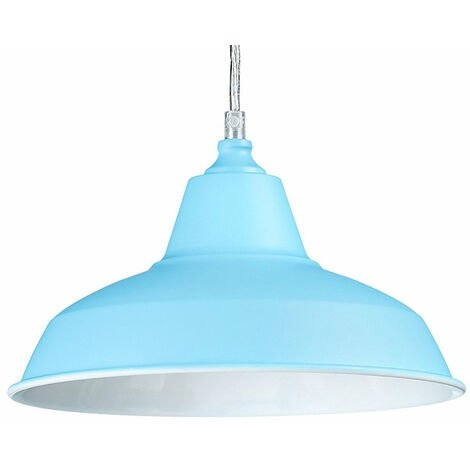 Lampe à suspension lustre lampadaire luminaire cuisine salon salle de bain bleu diamètre 28 cm - Bleu