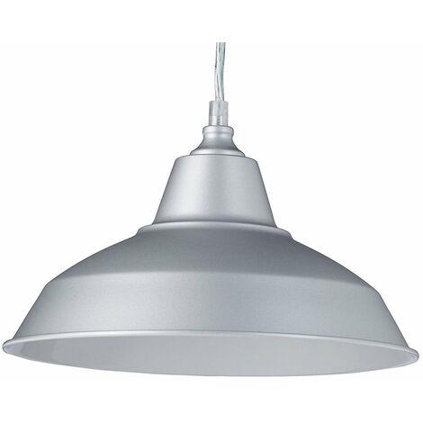 Lampe à suspension lustre lampadaire luminaire cuisine salon salle de bain gris diamètre 28 cm - Gris