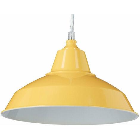 Lampe à suspension lustre lampadaire luminaire cuisine salon salle de bain jaune diamètre 28 cm - Jaune