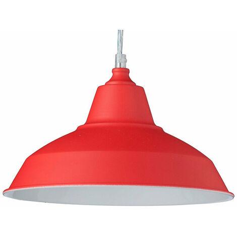 Lampe à suspension lustre lampadaire luminaire cuisine salon salle de bain rouge diamètre 28 cm - Rouge