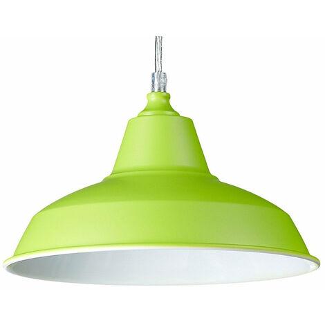 Lampe à suspension lustre lampadaire luminaire cuisine salon salle de bain vert diamètre 28 cm - Vert