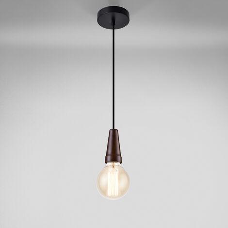 Lampe à suspension noir-aspect du bois métal