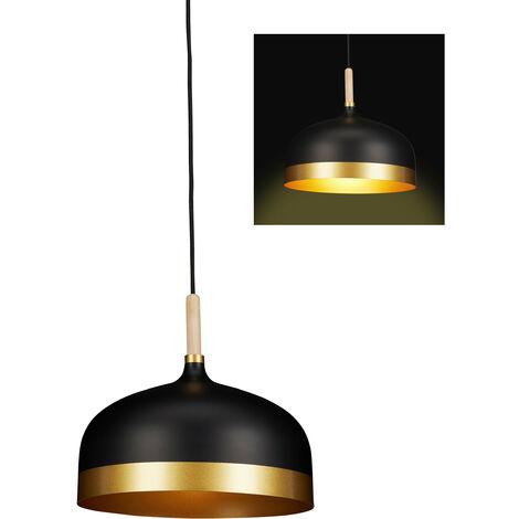 Lampe à suspension noire, design vintage, une ampoule, pour salon, métallique HxD 125 x 33,5 cm, noir-doré