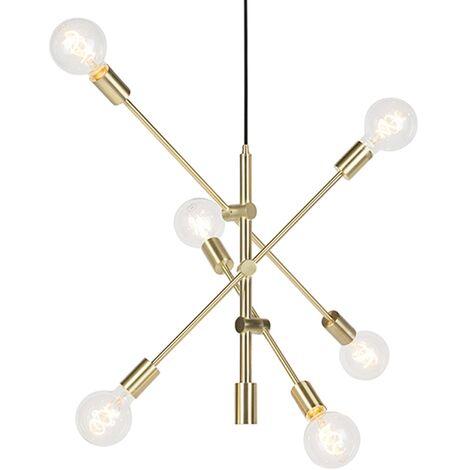 Lampe à Suspension salle a manger Art Déco en laiton mat 6 lumières - Sydney Qazqa Retro Luminaire interieur