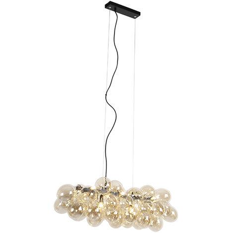 Lampe à Suspension salle a manger Design noir avec verre ambre 8 lampes - Uvas Qazqa Design Luminaire interieur