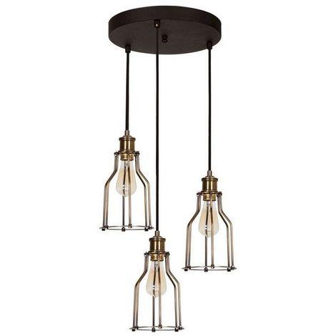Lampe a Suspension Wire - Plafonnier - Murale - Vintage, Noir en Metal, D 17 x 25 cm, 3xE27 Max.100 W