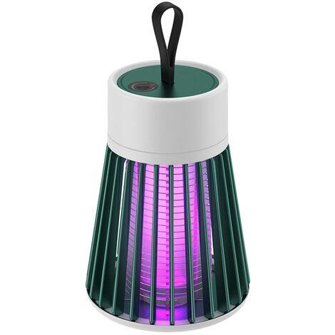Lampe Anti-Moustique Electrique Exterieure, Piege A Moustiques Muet Rechargeable Usb, Version Rechargeable Avec Cable Usb Et Batterie, Vert