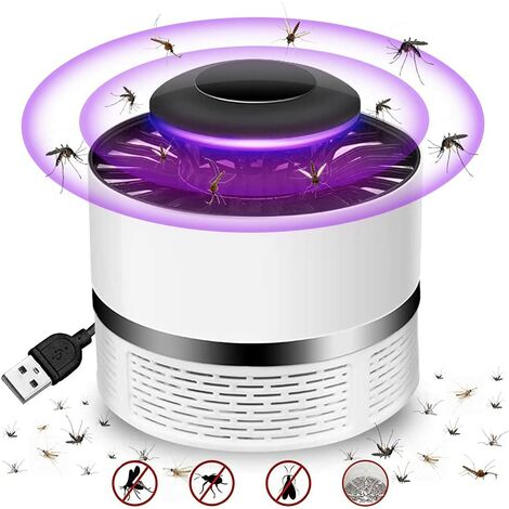 Lampe Anti-moustiques,(Version 2021) Tue Mouche Electrique, LED Répulsif Tueur de Moustiques, USB Piège à Mouche Électrique, UV Electrique Moustique Killer Lampe Non Toxique, Efficace, Sûr (blanc1)