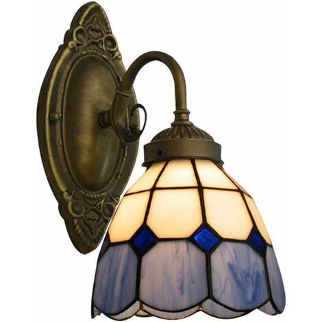 Lampe Applique Murale Abat-jour en Verre Style Lamp Rétro Mur de Feu Luminaire Décorative-Argent