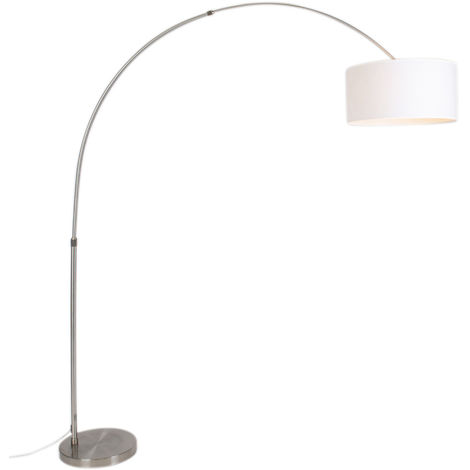 """main image of """"Lampe arche Moderne en acier avec abat-jour 50/50/25 blanc réglable Qazqa Moderne Luminaire interieur"""""""