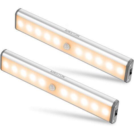 Lampe Armoire,Éclairage d'armoire à détecteur de mouvement,éclairage d'armoire de rangement sans fil à vec batterie rechargeable intégrée,éclairage de nuit magnétique à coller,pour placard de cuisine