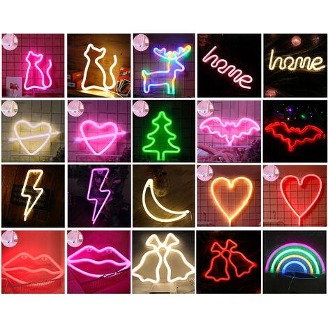 lampe au neon LED suspendue boite de batterie de lampe en forme d'arbre de Noel + USB a double usage, couleur de style arc-en-ciel