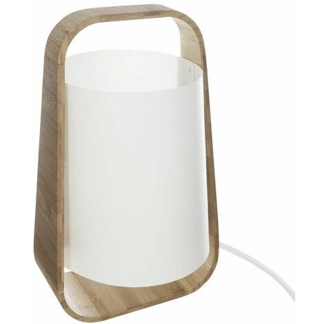 Lampe bambou + abat-jour plastique H35 Blanc - Atmosphera