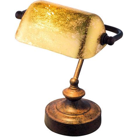 Lampe banquaire avec abat-jour en feuille d'or patiné ANTIQUE