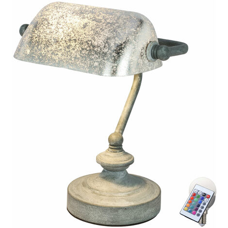 Lampe banquier LED RGB, feuille d'argent, H 24 cm ANTIQUE