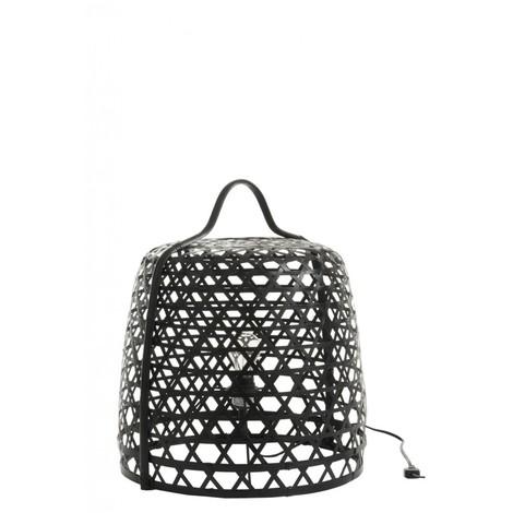 Lampe basse ronde en Bambou noir