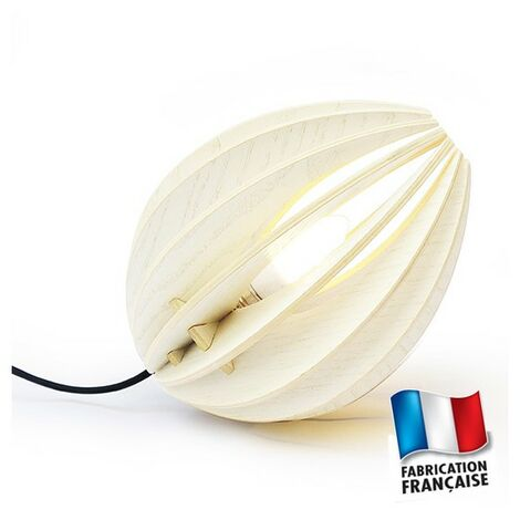 Lampe blanche design Bois Ovo