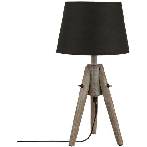 Lampe Bois - H. 46 cm. - Noir