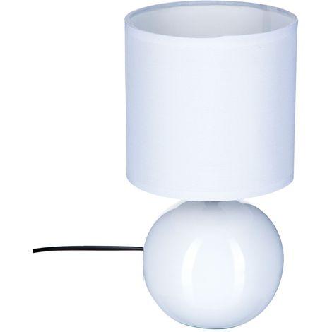 Lampe Boule en céramique - H. 25 cm - Blanc