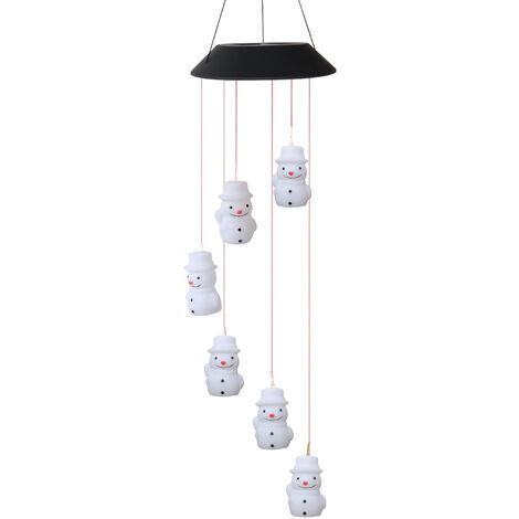 Lampe Carillon Solaire a Vent 6 Perles De Lampe De Bonhomme De Neige Changeantes De Couleur
