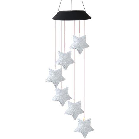 Lampe Carillon Solaire a Vent 6 Perles De Lampe En Forme D'Etoile Changeantes De Couleur