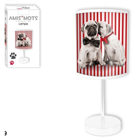 LAMPE CHIENS RAYURES ROUGES