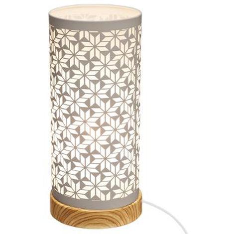 Lampe cylindre touche géométrique en fer et bois coloris blanc - Dim : D.12 x H.27,5 cm