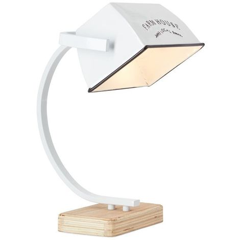 Lampe DAVIS 1x40W E27 Bois clair-blanc brillant