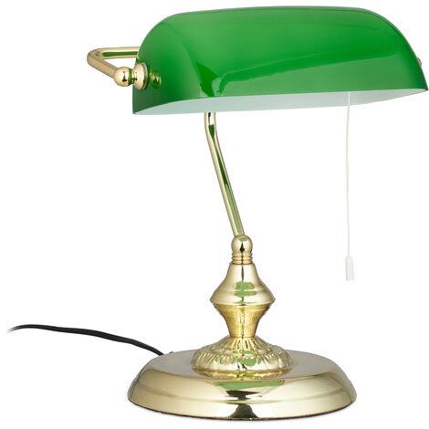 Lampe de banquier abat-jour vert bureau table lampe de table laiton vintage bibliothèque 31x22,5x18,5 cm, vert