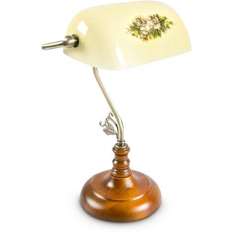 Lampe de banquier avec abat-jour jaune en verre et douille E 27 Lampe de bureau Dimensions 26,5 x 40 x 18 cm, jaune