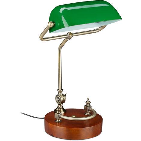 Lampe de banquier bureau table abat-jour vert en verre ampoule à douille E-27 notaire bibliothèque, vert