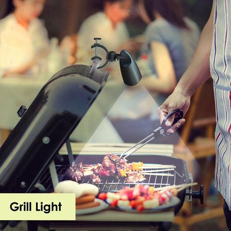 Lampe de barbecue, rotation à 360 ° pour barbecue avec 10 lumières LED super lumineuses - résistantes à la chaleur, lumière de barbecue à LED pour batterie de gril non incluse