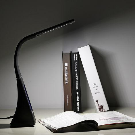 Lampe de bureau à LED noir 4en1 lampe calendrier montre thermomètre maison salon