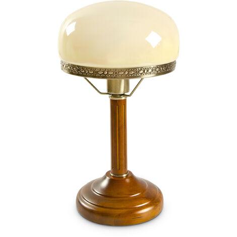 Lampe de Bureau Banquier avec Abat-Jour en Verre E 27, beige